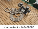 Coiled Rope On Boat's Deck