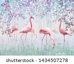 Pink Flamingos In A Delicate...