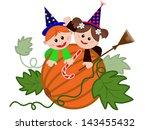 children on the pumpkin | Shutterstock .eps vector #143455432