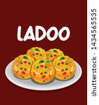 traditional indian boondi ladoo ... | Shutterstock .eps vector #1434565535