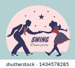 swing dance couple silhouette...   Shutterstock .eps vector #1434578285