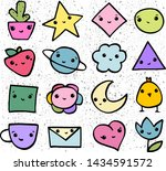 pattern with funny faces.... | Shutterstock .eps vector #1434591572