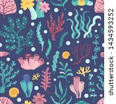 seamless pattern with seaweeds... | Shutterstock .eps vector #1434593252