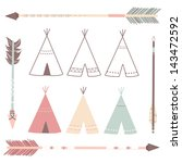 teepee tents and arrows  ... | Shutterstock .eps vector #143472592