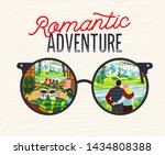 romantic camping trip. man and... | Shutterstock .eps vector #1434808388