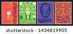 hippie girls  1960s  1970s...   Shutterstock .eps vector #1434819905