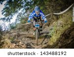 GOIS, PORTUGAL - JUNE 23: Ricardo Veiga during the 4th Stage of the Taca de Portugal Downhill Vodafone on june 23, 2013 in Gois, Portugal. - stock photo