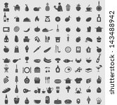 big collection of food icons.... | Shutterstock .eps vector #143488942
