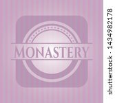 monastery realistic pink emblem.... | Shutterstock .eps vector #1434982178