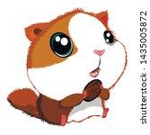 Stock vector cute cartoon hamster with big eyes vector hand drawn 1435005872