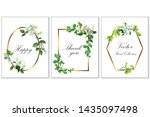 floral frame with apple flowers ... | Shutterstock .eps vector #1435097498