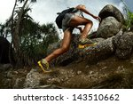 hiker with backpack crossing... | Shutterstock . vector #143510662