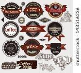vector set of vintage stickers... | Shutterstock .eps vector #143516236