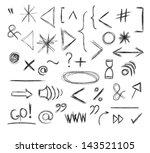 miscellaneous doodle symbols ... | Shutterstock .eps vector #143521105