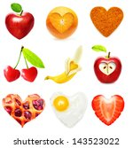 heart symbol food isolated over ... | Shutterstock . vector #143523022