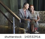 loving middle aged couple on... | Shutterstock . vector #143532916
