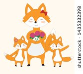 fox mother with flowers from... | Shutterstock .eps vector #1435332398