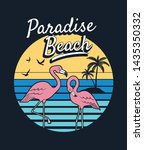 paradise beach text with... | Shutterstock .eps vector #1435350332