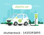electric car charging with city ... | Shutterstock . vector #1435393895