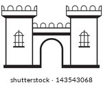 Icon Castle Isolated On White...