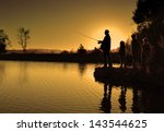 Family Fishing Silhouette