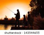 Family Fishing Sunrise