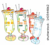 funky cocktail drinks with... | Shutterstock .eps vector #143544862
