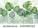 tropical green leaves on a... | Shutterstock . vector #1435483262
