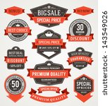 vector vintage sale labels and... | Shutterstock .eps vector #143549026