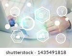 social network theme hologram...   Shutterstock . vector #1435491818