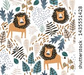 seamless jungle pattern with... | Shutterstock .eps vector #1435551428