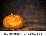 Halloween Pumpkin On Old Wooden ...