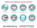 how to brush your teeth step by ... | Shutterstock . vector #1435575152
