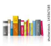 Row Of Colorful Books  Vector...
