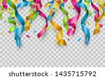 colorful confetti and streamers ... | Shutterstock .eps vector #1435715792