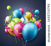 birthday party balloons and... | Shutterstock .eps vector #1435715795