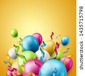 birthday party balloons and... | Shutterstock .eps vector #1435715798