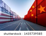 Small photo of Metaphor image of United States of America and China trade war tariffs as two opposing container cargo and airplane over the port as an economic taxation dispute over import and exports concept
