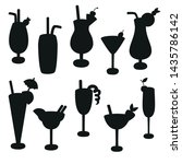 cocktail silhouettes black and... | Shutterstock .eps vector #1435786142