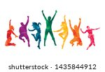 colorful happy group people... | Shutterstock .eps vector #1435844912