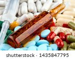syringe  brown ampoule and many ... | Shutterstock . vector #1435847795