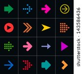 16 arrow pictogram set. volume...