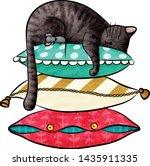 funny cartoon cat and little... | Shutterstock .eps vector #1435911335