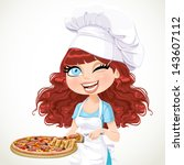 cute curly hair girl chef...   Shutterstock .eps vector #143607112