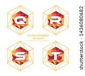 alphabetical hexagon vector  ... | Shutterstock .eps vector #1436080682