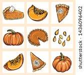 autumn vector set. hand drawn... | Shutterstock .eps vector #1436096402