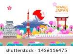 attractions in japan  spring is ... | Shutterstock .eps vector #1436116475