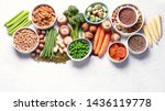 Stock photo food sources of plant based protein healthy diet with legumes dried fruit seeds nuts and 1436119778