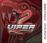 viper snake mascot logo design | Shutterstock .eps vector #1436123888
