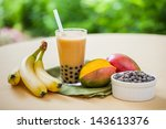 mango smoothie bubble tea with... | Shutterstock . vector #143613376